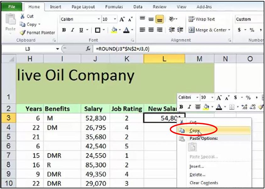 Copying data or formulas down a column instantly in Excel